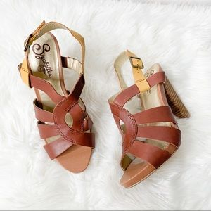 Seychelles Brown Leather Stacked Heel Sandals
